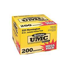 Remington UMC 223 Mega 45 Grain Jacketed Hollow Point 200 Rounds