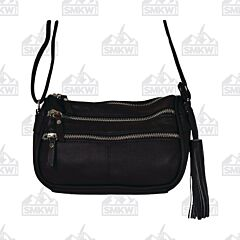Prairie Schooner Black Leather Purse 8""