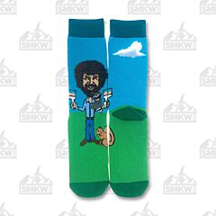 Oooh Yeah! Let's Paint Bob Ross Blue and Green Women's Crew Socks