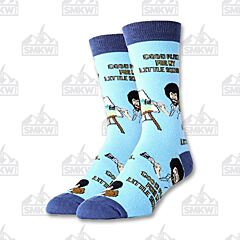 Oooh Yeah! Little Squirrel Bob Ross Blue Men's Crew Socks