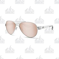 Costa Loreto Aviator Style Sunglasses Palladium Silver Metal Frame Copper Silver Mirror Polarized Plastic Lenses