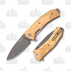 LionSteel KUR BUL Wood Olive Wood Handles PVD Coated Blade