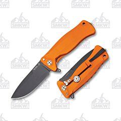 LionSteel SR11A OB Orange Aluminum Handles Black Blade