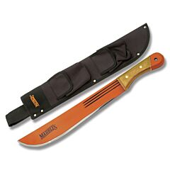 "Marbles Scouting Jungle Machete with Wooden Handle and Fire Hardened Orange Coated Carbon Steel 13.75"" Plain Edge Blade Model MA12714"