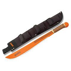 "Marbles Large Wire Wrapped Workhorse Jungle Machete with Wooden Handles and Fire Hardened Orange Coated Carbon Steel 18"" Plain Edge Blade Model MA12718W"