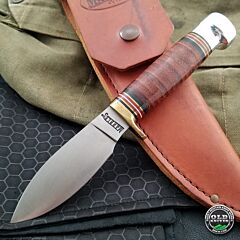 2000s Marbles Outdoors Stacked Leather Fixed Blade