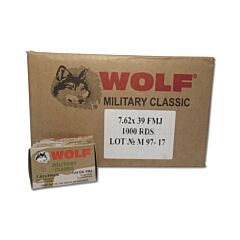 Wolf Military Classic 7.62x39mm 124 Grain Full Metal Jacket 1000 Rounds