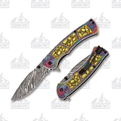 Master Cutlery Dark Side Damascus Skulls Gold