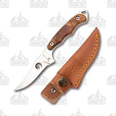 Elk Ridge Model ER-059 Fixed Blade Knife Brown Burlwood Handle