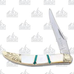 Elk Ridge Mother of Pearl Turquoise Toothpick Mother of Pearl and Green Turquoise Handle 3Cr13 Stainless Steel Blade
