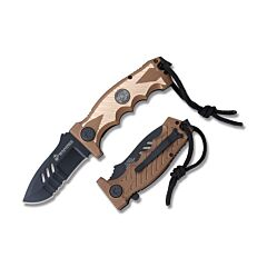 "Master Cutlery MTech U.S. Marine Corps Spring Assisted Folding Knife with Tan and Gold Anodized Aluminum Handle and Black Coated 440 Stainless Steel 3.35"" Drop Point Compress Blade Model M-A1041TN"