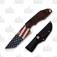MTech USA Tactical Fixed Blade Knife USA Stainless Steel Blade Brown Pakka Wood Handle
