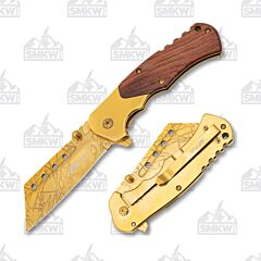 Master Cutlery MTech Folding Wharncliffe Wood and Gold