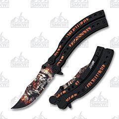 MTech USA Tiger Spring Assisted Knife Stainless Steel Blade Black Aluminum Handle