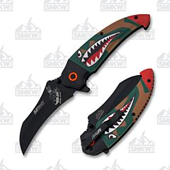 MTech USA Bomber Spring Assisted Knife Black Stainless Steel Blade Green Aluminum Handle