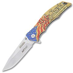 MTech USA MX-A849FC We The People Spring Assisted Knife 3Cr13 Stainless Steel Blade Embossed Stainless Steel Handle