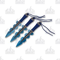 Perfect Point Throwing Knife Set Blue Cord Wrap