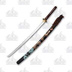 "Ryumon 41.5"" Hand Forged Katana Brown Cord Wrapped Ray Skin Handle"