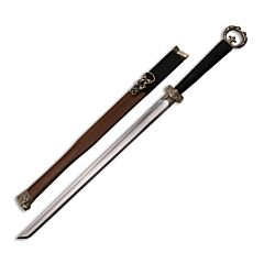Master Cutlery SW275 Chinese Oriental Sword with Black Nylon Cord Wrapped Handle and Mirror Polished Carbon Steel Blade Model SW-275