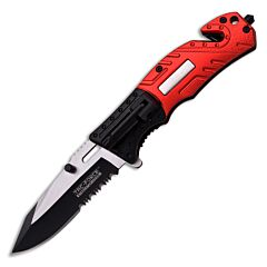 "Tac-Force Firefighter Spring Assisted Knife with Red and Black Aluminum Handle and Black Stainless Steel Partially Serrated 3.25"" Clip Point Blade Model TF-835FD"