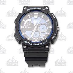 Casio Black and Blue Resin Watch
