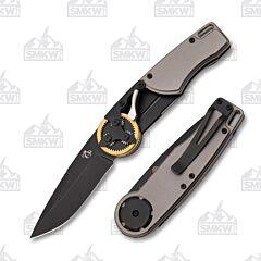 Mantis Knives 2026DP Brass Gear Head Drop Point