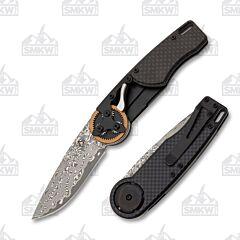 Mantis Knives 2028T Copper Gear Head Damascus Tanto Carbon Fiber