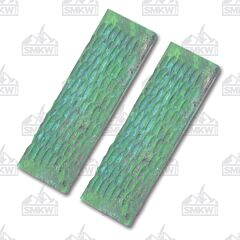 Green Jigged Bone Handle Slab Pairs