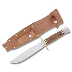 "Marble's Jet Pilot's Survival Knife with Stacked Leather Handles and Polished 440A Stainless Steel 6.125"" Clip Point Plain Edge Blade Model MR233"