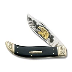 "Marbles Wildlife Collectors Series Eagle Clasp Knife with Black Smooth Bone Handles and 440A Stainless Steel 4.125"" Clip Point Plain Edge Blade Model MR368"
