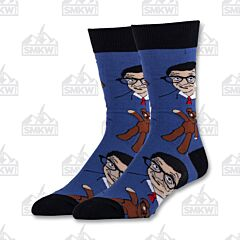 Oooh Yeah! Mr. Bean and Teddy Blue Men's Crew Socks