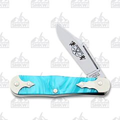 Great Eastern Cutlery Northfield Templar Caribbean Blue Acrylic Handle 1095 Carbon Steel Blades