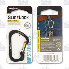 NITE IZE SlideLock KeyRing Black Coated Stainless Steel #3 Carabiner