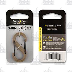 NITE IZE S-Biner Dual Carabiner #2 Plastic Coyote Tan with Black Gates Model SBP2-03-28BG