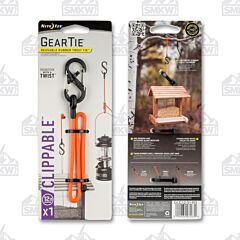"NITE IZE Gear Tie Clippable Twist Tie 12"" Bright Orange with Black Plastic #2 S-Biner Model GLC12-31-R3"