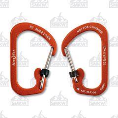 NITE IZE SlideLock Carabiner Size #2 Orange Anodized Aluminum with Stainless Steel Locking Gates Model CSLA2-19-R6