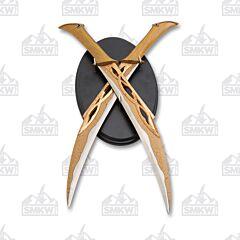 """19"""" 2 Piece Sword Set with Wooden Plaque"""