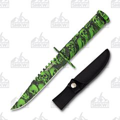 Wartech HWT04SGN Green Skull Hunting Knife with Survival Kit,