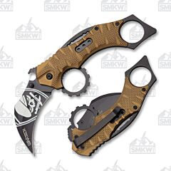 Wartech Spring Assisted Opening Gold Aluminum Handle Karambit