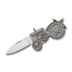 "Zeke Antique Tractor Linerlock 3.625"" with Authentically Detailed Antique Silver Finish Cast Metal Handles and Stainless Steel Plain Edge Blades Model YC30720"