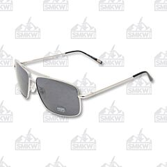 ZIPPO Pilot Sunglasses Smoke Flash with Silver Metal Frame Model OB28-01