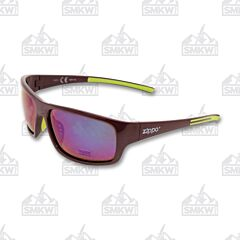 ZIPPO Full Frame Wrap Sunglasses Maroon Plastic Green Accents