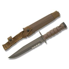 "Ontario 3S Bayonet with Brown Hytrel Handle and Black Zinc Phosphate Coated 1095 Carbon Steel 8"" Clip Point Partially Serrated Edge Blade with Brown Hytrel Sheath Model 6504"