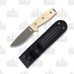 Ontario Knife Company Tan Canvas Micarta RAT-3 Fixed Blade