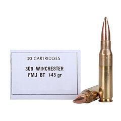 PPU 308 Winchester 145 Grain Full Metal Jacket Boat Tail 20 Rounds