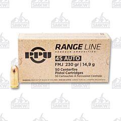 Ppu Range Ammo Brass .45 Acp 50-Round 230 Grain Full Metal Jacket