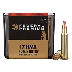 Federal Premium V-Shok 17 Hornady Magnum Rimfire 17 Grain TNT Jacketed Hollow Point 50 Rounds