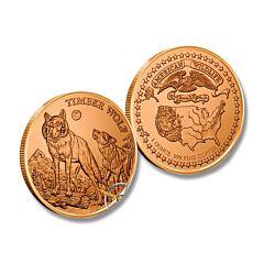 Timber Wolf American Wildlife Copper Round