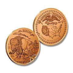 Bison American Wildlife Copper Round