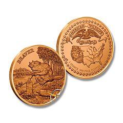 Beaver American Wildlife Copper Round